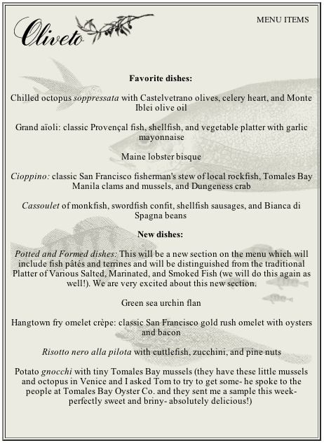 Oliveto restaurant and cafe monterey fish company for City fish menu