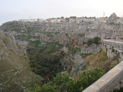 Ancient city of Matera, bordering the Gravina