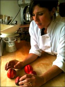 Oliveto Pastry Chef Jenny Raven talking nectatrines
