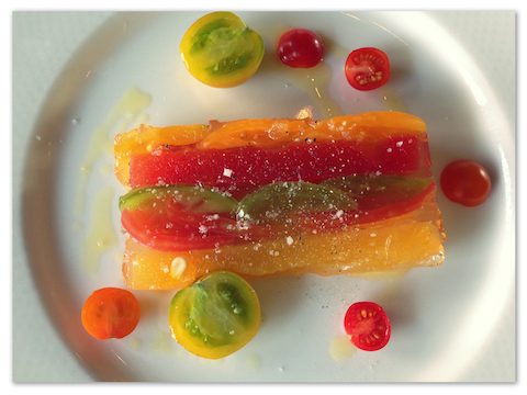 Terrina of heirloom tomatoes and watermelon with basil and cucumber