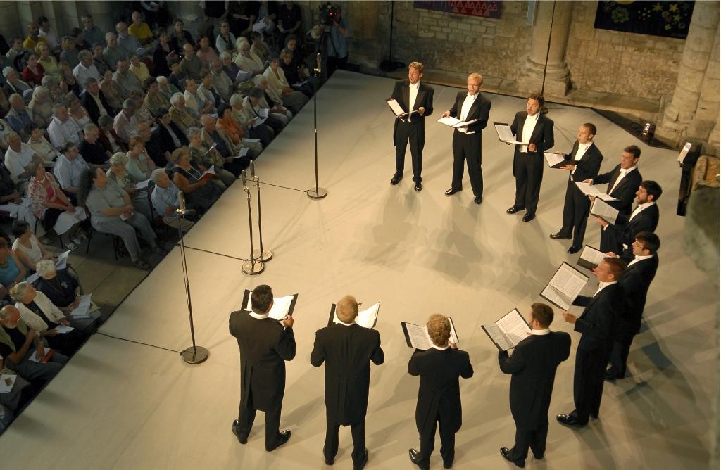 Chanticleer in performance at Abbaye aux Dames, Saintes. Photo by Michel Garnier.