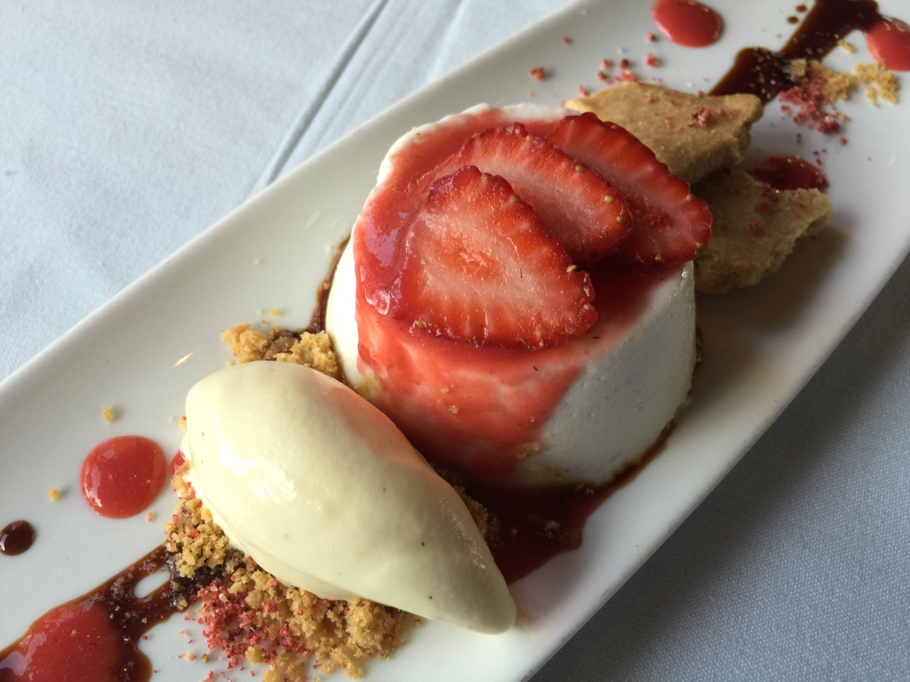 The warm weather has brought a surfeit of ripe, early strawberries. Yakira is serving them with crema di latticello (a smooth, eggless, buttermilk pudding),  old aceto balsamico, and peppercorn ice cream.  (We won't see the exquisite Albion, Seascape, and other later strawberry cultivars for a while).